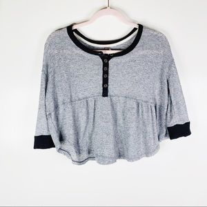 Free People We The Free Gray + Black Henley Crop